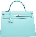 Luxury Accessories:Bags, Hermes 35cm Blue Atoll Togo Leather Retourne Kelly Bag withPalladium Hardware. T, 2015. Excellent to PristineConditi...
