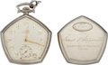 Football Collectibles:Others, 1934 Michigan State Spartans Football Most Valuable Player Pocket Watch Presented to Edward Klewicki....