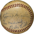 Baseball Collectibles:Balls, 1940's Baseball Legends Multi-Signed Baseball with Ruth, Wagner....