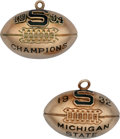 Football Collectibles:Others, 1932 and 1934 Michigan State Spartans Gold Football Pendants Presented to Ed Klewicki....