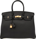 "Luxury Accessories:Bags, Hermes 35cm Black Togo Leather Birkin Bag with Gold Hardware . T, 2015 . Pristine Condition . 14"" Width x 10"" Height x 7"" ..."