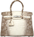 Luxury Accessories:Bags, Hermes 30cm Matte White Himalayan Nilo Crocodile Birkin Bag withPalladium Hardware. M Square, 2009. ExcellentConditi...