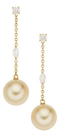 Estate Jewelry:Earrings, Diamond, Cultured Pearl, Gold Earrings, Mikimoto. ... (Total: 2 Items)