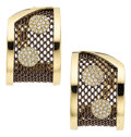 Estate Jewelry:Earrings, Diamond, Gold, Stainless Steel Earrings, Sabbadini. ... (Total: 2Items)