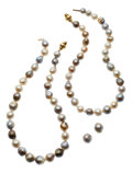 Estate Jewelry:Suites, South Sea Cultured Pearl, Gold Jewelry Suite. ... (Total: 4 Items)