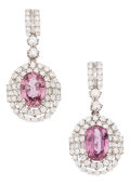 Estate Jewelry:Earrings, Pink Sapphire, Diamond, White Gold Earrings. ...