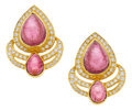 Estate Jewelry:Earrings, Pink Tourmaline, Diamond, Gold Earrings. ... (Total: 2 Items)