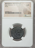 Ancients:Roman Provincial , Ancients: MACEDONIA. Amphipolis. Septimius Severus (AD 193-211). AE22 mm (no wt. given)....