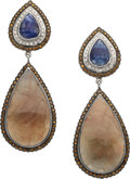 Estate Jewelry:Earrings, Sapphire, Colored Diamond, Diamond, White Gold Earrings. ...(Total: 2 Items)