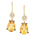 Estate Jewelry:Earrings, Citrine, Colored Diamond, Diamond, Gold Earrings. . ... (Total: 2Items)
