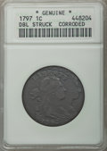 Large Cents, 1797 1C Rev of 1797, Stems -- Double Struck, Corroded -- Genuine ANACS. Mintage: 897,510.. From The Hamilton Collection...