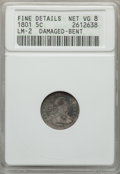 Early Half Dimes, 1801 H10C V-1 and V-2, LM-2, R.4, -- Bent, Damaged -- ANACS. FineDetails, Net VG8. NGC Census: (0/10). PCGS Population (1/...