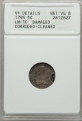 Early Half Dimes, 1795 H10C V-4, LM-10, R.3, -- Cleaned, Corroded, Damaged -- ANACS.VF Details, Net VG8. NGC Census: (0/16). PCGS Population...
