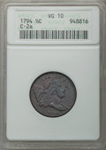 Half Cents, 1794 1/2 C Normal Head, C-2a, B-2b, High R.2, VG10 ANACS. . From The Ohio Va...