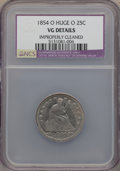 Seated Quarters: , 1854-O 25C Huge O -- Improperly Cleaned -- NCS. VG Details. NGC Census: (7/37). PCGS Population (5/66). Mintage: 1,484,000....