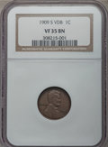 Lincoln Cents, 1909-S 1C VDB VF35 NGC. NGC Census: (277/3193). PCGS Population (835/5576). Mintage: 484,000. . From The Ohio Valley Co...
