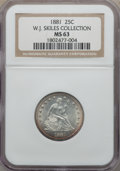 Seated Quarters: , 1881 25C MS63 NGC. Ex: W.J. Skiles Collection. NGC Census: (11/60). PCGS Population (17/76). Mintage: 12,000. CDN Wsl. Pric...