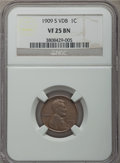 Lincoln Cents, 1909-S 1C VDB VF25 NGC. NGC Census: (431/3873). PCGS Population (788/7294). Mintage: 484,000. . From The Ohio Valley Co...