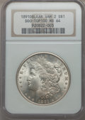 1891 $1 Doubled Ear, VAM-2, MS64 NGC. TOP-100. NGC Census: (30/0). PCGS Population (29/3). From The Ohio Valley Colle...