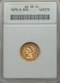 Liberty Quarter Eagles: , 1879-S $2 1/2 AU58 Prooflike ANACS. Mintage: 43,500. CDN Wsl. Price for problem f...