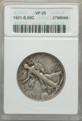 Walking Liberty Half Dollars: , 1921-S 50C VF25 ANACS. NGC Census: (59/261). PCGS Population (94/370). Mintage: 548,000. . From The Ohio Valley Collect...