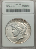 Peace Dollars: , 1934-S $1 AU58 ANACS. NGC Census: (446/1260). PCGS Population (523/2117). Mintage: 1,011,000. . From The Ohio Valley Co...