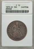 Seated Half Dollars: , 1873-CC 50C Arrows Fine 12 ANACS. NGC Census: (2/79). PCGS Population (11/186). Mintage: 214,560. CDN Wsl. Price for proble...