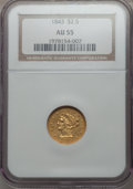 1843 $2 1/2 AU55 NGC. NGC Census: (54/74). PCGS Population: (19/31). CDN: $675 Whsle. Bid for problem-free NGC/PCGS AU55...
