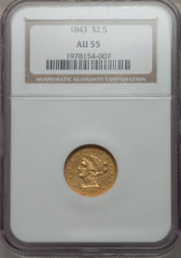1843 $2 1/2 AU55 NGC. NGC Census: (51/75). PCGS Population (16/24). Mintage: 100,546. From The Ohio Valley Collection...
