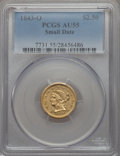1843-O $2 1/2 Small Date, Crosslet 4 AU55 PCGS. PCGS Population (36/70). NGC Census: (147/254). Mintage: 364,002. Fro...
