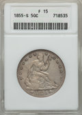 1855-S 50C Arrows Fine 15 ANACS. NGC Census: (2/36). PCGS Population (8/53). Mintage: 129,950. From The Ohio Valley C...