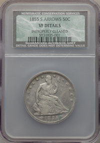 1855-S 50C Arrows -- Improperly Cleaned -- NCS. VF Details. NGC Census: (1/35). PCGS Population (8/45). Mintage: 129,950...