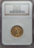 Liberty Half Eagles: , 1846-O $5 VF35 NGC. NGC Census: (6/138). PCGS Population (6/74). Mintage: 58,000. . From The Ohio Valley Collection....