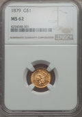 Gold Dollars, 1879 G$1 MS62 NGC. NGC Census: (29/122). PCGS Population (25/201). Mintage: 3,000. CDN Wsl. Price for problem free NGC/PCGS...