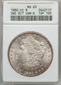 1880-CC $1 8 Over Low 7, VAM-6, MS63 ANACS. TOP-100. NGC Census: (0/0). PCGS Population (21/35). From The Ohio Vall