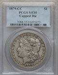 Morgan Dollars, 1879-CC $1 CAPPED DIE VF35 PCGS. PCGS Population (144/2088). NGC Census: (42/1387). . From The Ohio Valley Collection....