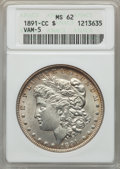 1891-CC $1 MS62 ANACS. VAM-5. NGC Census: (1177/2956). PCGS Population (3315/9390). Mintage: 1,618,000. From The Ohi...(...