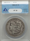 1893-CC $1 VF35 ANACS. NGC Census: (125/2285). PCGS Population (317/4490). Mintage: 677,000. From The Ohio Valley Col...