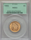 1893 $5 MS63 PCGS. PCGS Population (836/264). NGC Census: (2043/707). Mintage: 1,528,197. CDN Wsl. Price for problem fre...
