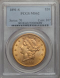 1891-S $20 MS62 PCGS. PCGS Population (1972/970). NGC Census: (1954/577). Mintage: 1,288,125. CDN Wsl. Price for problem...