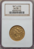 Liberty Eagles: , 1847-O $10 AU50 NGC. NGC Census: (130/489). PCGS Population (94/91). Mintage: 571,500. CDN Wsl. Price for problem free NGC/...