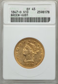 Liberty Eagles, 1847-O $10 XF45 ANACS. BREEN-6881. NGC Census: (191/619). PCGS Population (128/185). Mintage: 571,500. . From The ...