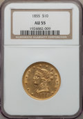 Liberty Eagles: , 1855 $10 AU55 NGC. NGC Census: (176/206). PCGS Population (35/57). Mintage: 121,701. . From The Ohio Valley Collection....