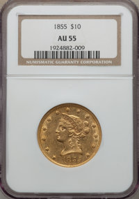 1855 $10 AU55 NGC. NGC Census: (176/206). PCGS Population (35/57). Mintage: 121,701. From The Ohio Valley Collection...