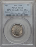 Errors, 1907 5C Liberty Nickel -- 12% Straight End Clip -- MS62 PCGS....