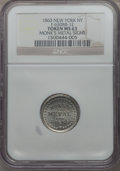 Civil War Merchants, 1863 Monk's Metal Signs, New York, NY, MS63 NGC. Fuld-NY630BB-1e,R.8....