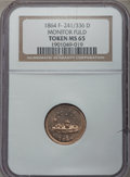 Civil War Patriotics, 1864 Monitor / Our Navy MS65 NGC. Fuld-241/336d, R.8. Ex: GeorgeFuld Collection....