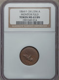 Civil War Patriotics, 1864 Monitor / Army & Navy MS63 Brown NGC. Fuld-241/296a, R.9.The obverse has the appearance of an uncentered broadstrike, ...