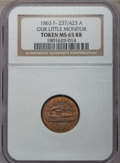 Civil War Patriotics, 1863 Monitor MS65 Red and Brown NGC. Fuld-237/423a, R.1....