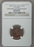 Civil War Patriotics, 1863 Knickerbocker Currency MS64 Brown NGC, Fuld-37/255a; 1863 ForPublic Accomodation MS64 Brown NGC, Fuld-37/434a; 1863 Mill...(Total: 3 tokens)